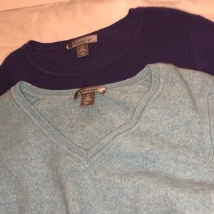 2 Cashmere by Charter Club sweaters purple/blue